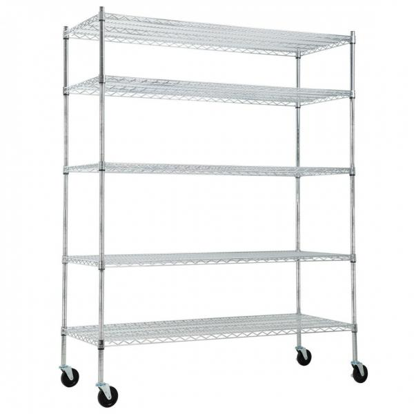 5 Tier Silver Rolling Storage Rack Wire Shelving Unit Kitchen Shelf
